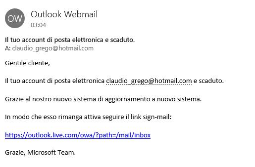 Il tuo account di posta elettronica e scaduto