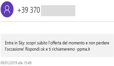 SMS indesiderati da -ppma.it promozione Sky